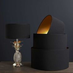 """18"""" Black Cotton Lamp Shade with a gold textured inner H22cm W46cm"""