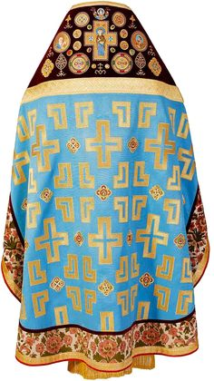 Blue Russian-Style Priest Vestment, $1,420.00, This set includes 6 items: zone…