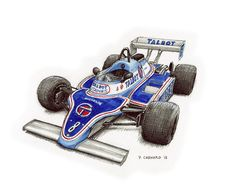 """1981 Matra Ligier JS17  Pen&ink and markers on 11""""x 9"""" watercolour paper © Paul Chenard 2015  Original art SOLD; limited editions available."""