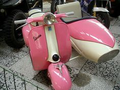 """'Vespa """"rosa"""" Sidecar' by sstarlightss Vespa Moto, Vespa Scooters, Lambretta Scooter, Motor Scooters, Pink Vespa, Motorcycle News, Everything Pink, Travel Style, Pretty In Pink"""