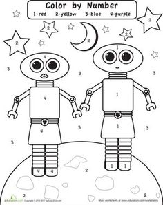 Preschool Color by Number Worksheets: Color by Number: Robots in Space Worksheet