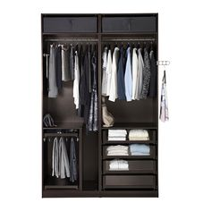 PAX Wardrobe, black-brown, Uggdal grey glass black-brown 150x66x236 cm null