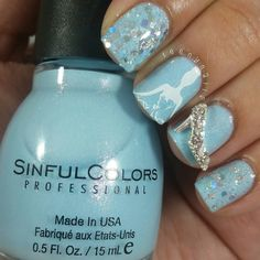 My super subtle Cinderella mani  Sinful Colors Cinderella  @chinaglazeofficial Techno  @charmed.dangerous charm by teenynails