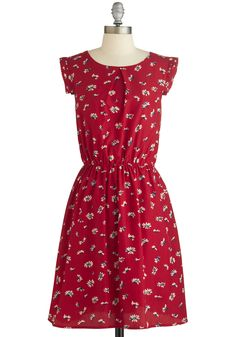 A Dance, by Chance? Dress. No need to wait for a dance partner - you can cut a rug solo in this muted crimson dress. #red #modcloth