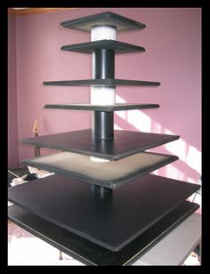 """DIY cupcake stand.... only change so single layer MDF as """"shelf""""  10"""", 14"""", 18"""", 22"""""""