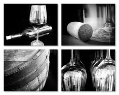 Black And White Wine Photography Print Set Art Winery Restaurant Bar Kitchen Dining Hotel Vineyard Napa Vino