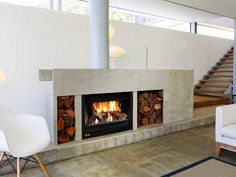 upright double sided fireplace - Google Search