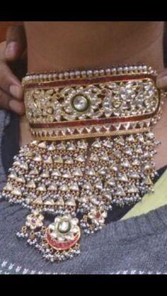 Rajasthani Aad with kundan work