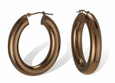 Puffy Chocolate Gold 14k Oval Hoop Earrings