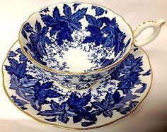 Coalport Cobalt Blue Oak Leaf Chintz Tea Cup and Saucer Gold English Teacup