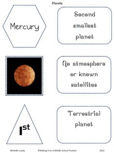 Making It As A Middle School Teacher: Science Freebie ~ Planets
