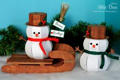 3D Snowman and 3D Sled - SVG Cuts files - Cut with the Silhouette Cameo