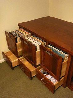Beau Custom Cherry Audio/Video And Vinyl Record Storage Cabinet