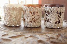Michelle maakt: Tweedehands garen en kant haken - link to pattern Crochet Cozy, Crochet Gifts, Thread Crochet, Crochet Yarn, Crochet Designs, Crochet Patterns, Crochet Jar Covers, Crochet Decoration, Crochet Kitchen
