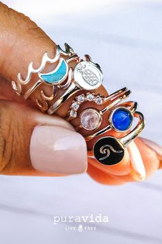 A collection of all the NEW Fall Pura Vida rings!💍 We have the Mood Ring, Wave Coin, Nesting Ring, Pineapple Coin, and so much more! Check out website in the link in my bio to get yourself some! Use my discount code to save off your entire order! Cute Jewelry, Boho Jewelry, Jewelry Box, Jewelry Accessories, Jewelry Drawer, Jewelry Tree, Jewelry Making, Clean Jewelry, Jewlery