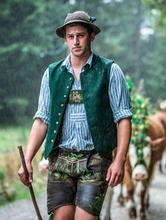 Traditional Looks, Traditional Dresses, Lederhosen, German Costume, German Men, Stylish Mens Outfits, Stylish Man, Folk Costume, Fashion Sketches