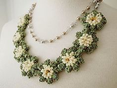 Lace Jewelry Spring Spring Fiber Art Necklace by dorischi4229, $108.00