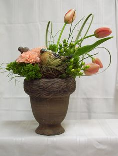 Great the spring with tulips and birds