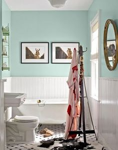 Tiffany Blue Bathroom Makeover (love) Lockhart Cassinos Living design interior decorating interior design decorating before and after Painted Wainscoting, Dining Room Wainscoting, Wainscoting Styles, Black Wainscoting, White Beadboard, Wainscoting Nursery, Wainscoting Panels, Painted Walls, Wainscoting Height
