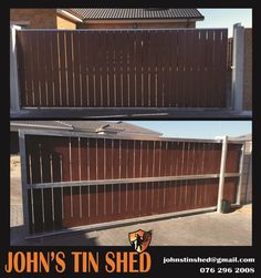 Sliding gate, galvanised with nutec board cladding Tin Shed, Sliding Gate, How To Remove Rust, Driveways, Fencing, Outdoor Furniture, Outdoor Decor, Cladding, Gates
