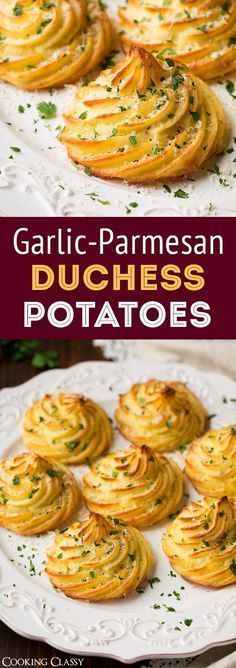 Duchess Potatoes (with Garlic and Parmesan!) – Cooking Classy Duchess Potatoes (with Garlic and Parmesan!) – Cooking Classy Duchess Potatoes with Garlic and Parmesan Cheese are the perfect fancy appetizer! Vegetable Dishes, Vegetable Recipes, Vegetarian Recipes, Cooking Recipes, Healthy Recipes, Vegetarian Cooking, Vegetarian Appetizers, Gourmet Cooking, Skillet Recipes