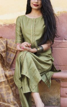 Olive Green Straight Kurta With Full Gota Sharara Suit Set Of 3 Salwar Designs, Silk Kurti Designs, Kurta Designs Women, Kurti Designs Party Wear, Long Kurta Designs, Designer Kurtis, Indian Designer Suits, Designer Kurtas For Women, Designer Anarkali