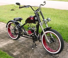 Photos of custom motorized bicycles.See OCC Schwinn Stingray choppers we've motorized.Also rat rods & cruisers, e-bikes or ones with gas and electric motors. Bicycles For Sale, Cool Bicycles, Bicycle Engine Kit, Custom Trikes, Custom Choppers, Lowrider Bicycle, Tricycle Bike, Chopper Bike, Mini Chopper