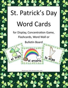 Beautiful, hand-painted St. Patrick's Day word cards in Spanish. Perfect for display, concentration games, flash cards, word walls, bulletin boards, and more!