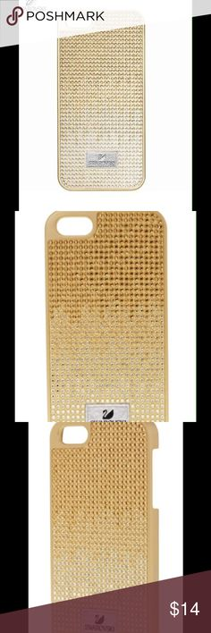 NWTSwarovski Gold&Clear Crystals IPHONE 5/5S Case Swarovski smartphone case THAO crafted in golden plastic, embellished with clear an golden crystals, uniquely set on the case to give it a beautiful gradient effect, and the Swarovski logo printed on a leather tag. This case fits iPhone 5 and 5S. #5050019 Swarovski Accessories Phone Cases