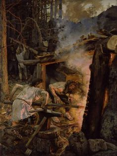 The Forging of the Sampo. Painting by Akseli Gallen-Kallela, depicting a scene from Kalevala, a Finnish epic poem. Smith Ilmarinen is forging the magical mill called Sampo, a centerpiece in many of Kalevala's stories. Scandinavian Paintings, Scandinavian Art, Helene Schjerfbeck, Asgard, Romanticism, Art Reproductions, Blacksmithing, Folklore, Les Oeuvres
