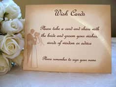 Items similar to Wish Cards Instruction Sign - Vintage Wedding Couple on Etsy August 25, Vintage Signs, Wish, Groom, Place Card Holders, Bride, Words, Unique Jewelry, Handmade Gifts