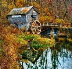 Hyde's Mill in Fall, Wisconsin, photo Matt Anderson. Autumn Photography, Landscape Photography, Germany Photography, Aerial Photography, Water Mill, Autumn Scenes, Old Barns, Le Moulin, Covered Bridges