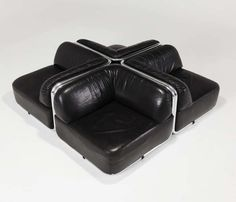 Geoffrey Harcourt seating elements in black leather for Artifort | From a unique collection of antique and modern sofas at https://www.1stdibs.com/furniture/seating/sofas/