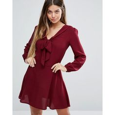 Unique 21 Pussybow Long Sleeve Skater Dress ($62) ❤ liked on Polyvore featuring dresses, red, red flared skirt, v-neck dresses, red skater dress, red skater skirt and long sleeve dresses