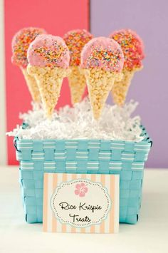 Beach Barbie Party – Project Nursery Rice Krispie Ice Cream Cones ~ for last day of school Ice Cream Party Birthday Party Snacks, Snacks Für Party, Party Treats, 2nd Birthday Parties, 4th Birthday, Birthday Ideas, Ice Cream Theme, Ice Cream Parlor, Rice Krispie Treats