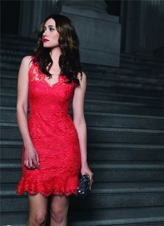 Red Monique Lhuillier dress in commercial with Emmy Rossum for Cotton