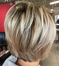 60 Short Shag Hairstyles That You Simply Can't Miss Layered Blonde Balayage Bob : 60 Short Shag Hairstyles That You Simply Can't Miss Layered Blonde Balayage Bob Layered Bob Short, Short Layered Haircuts, Short Hair With Layers, Short Hair Cuts, Short Hair Styles, Stacked Bob Hairstyles, Medium Short Hair, Short Shag Hairstyles, Shaggy Haircuts