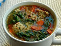 Italian Wedding Soup with Chicken Ricotta Meatballs.