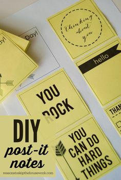 Printable post it notes - love the idea of adding these to the kid's lunchbox!