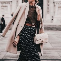 Polka dot skirt, paired with a perfect camel coat. how to layer, neutral outfit idea, ladylike style, modest style