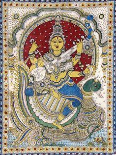 Saraswati (Kalamkari Paintings on Cotton - Unframed) Indian Art Gallery, Kalamkari Painting, Divine Mother, Fashion Painting, Folk Art, Painting Styles, Hand Painted, Art Prints, Drawings
