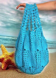 Extra Large Bright Blue Crochet Bag Crochet Beach by ElvishGiggles, €45.00