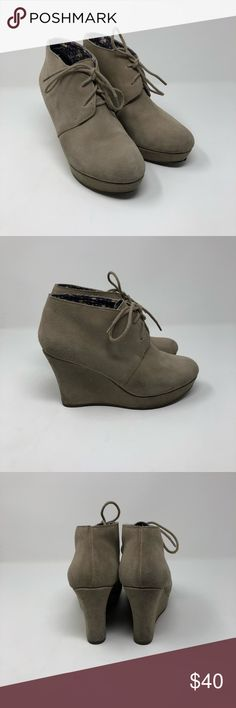Lucky Brand Bash Suede Wedge Ankle Boots 7 1/2 Lucky Brand bash suede leather 3 inch heeled ankle boots size 7 1/2, great preowned condition! Lucky Brand Shoes Ankle Boots & Booties