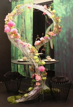 """green tea for two""  Assignments Interflora World Cup - floral designer, Caroline Looi Sooi Hing, Malaysia"