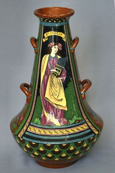 Frederick Rhead for Foley Pottery, Intarsio St Cecilia Vase (1899) | A large Foley ''Intarsio'' St Cecilia vase of tapering circular form, printed marks to base and no.3024, height 42cm