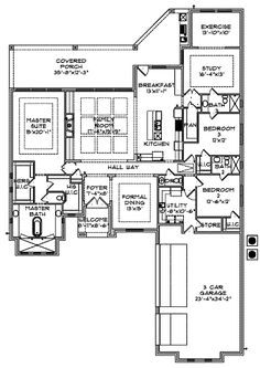 I like!  Would cut off the study and exercise room. His/her closets in master. Walk in closets in other two bedrooms.  Big pantry. Split floorplan.