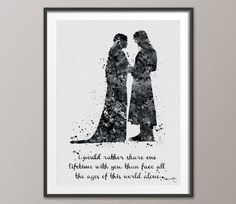 Aragorn and Arwen Quote Lord of the Rings Watercolor Print Evenstar Fan Art Movie Poster LOTR Geek Nerd Art Home Decor
