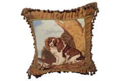 """Custom pillow made with vintage needlepoint of a Spaniel with vintage and antique metallic ribbon, fabric and eyelash pompom fringe. New linen back with zipper closure   22""""sq   245.00 one kings lane"""
