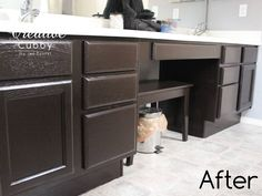 DIY Gel Stain Cabinet Makeover - The Creative Cubby at http://thecreativecubby.blogspot.com/2013/01/diy-gel-stain-cabinet-makeover.html. Fabulous step by step tutorial on how to redo your old oak cabinets with General Finishes Gel stain.