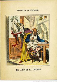 Fables de La Fontaine - Images d'Épinal - Le Loup et la Cigogne - BnF